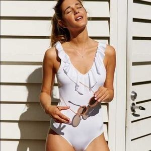 Aerie One-Piece Ruffled White Bathing Suit